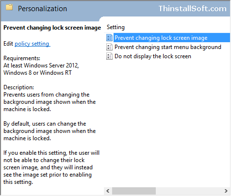 Prevent changing lock screen image in Windows 8